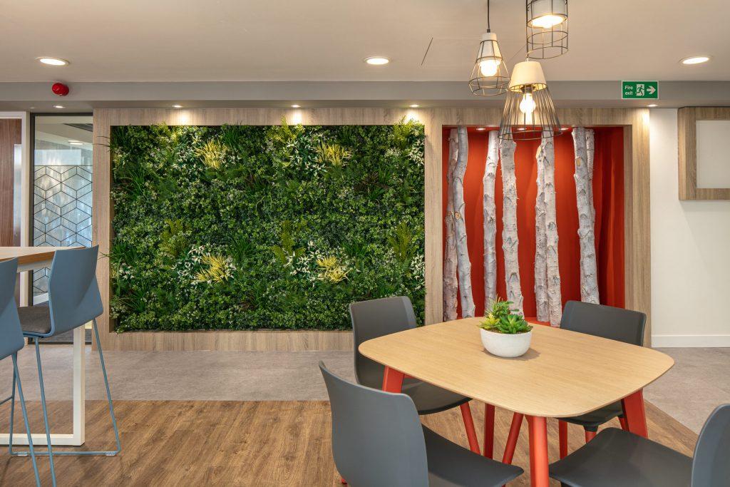 Caunton use natural wood and a living wall